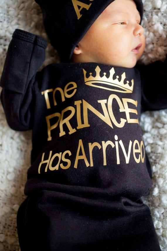 Newborn Boy Black And Gold Bodysuit Prince Has Arrived Take