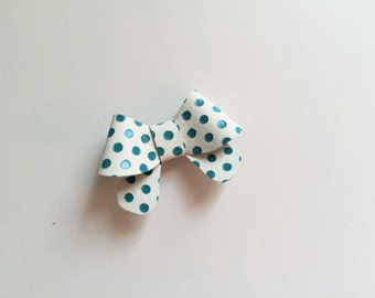 "Teal blue and white polka dot leather ""Helen"" bow - small - headband - alligator clip"