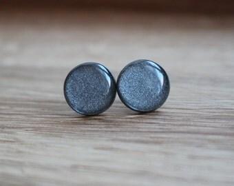 Gun Metal Stud Earrings. GUN METAL GLIMMER Studs. grey studs. black studs. silver studs. Surgical Steel Posts. Stainless Steel Posts.