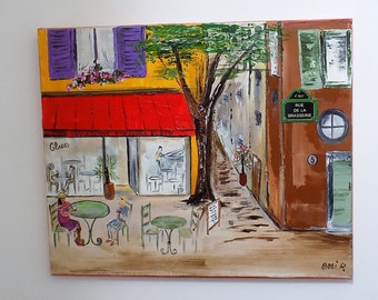 """Vibrant Cafe Scene in Acrylic on Canvas of a French Village in the South of France by a Local Artist.   18"""" x 15""""."""