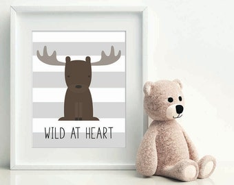 wild at heart woodland moose christmas gift baby nursery art woodland baby - Woodland Nursery Decor