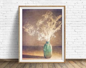 """botanical print, flowers, large art, large wall art, instant download printable art, digital download, instant download - """"Vintage Blue"""""""