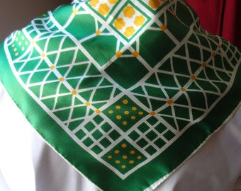 70's Green and Yellow Vintage Polyester Scarf Made in Japan
