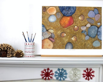 Four Shells Whitby beach Yorkshire Watercolour Stones sandy Pebbles Wall Art A2 size Giclee Print Realism Fine Art Nature Seaside watercolor