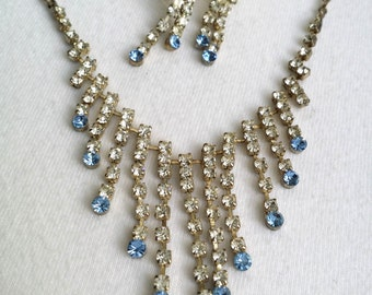 Vintage Silver Tone Clear and Blue Rhinestone Wedding Necklace & Stud Earrings Jewelry Set