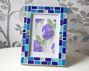 4x6 frame - Mosaic photo frame - Blue frame - Photo frame 4x6 - Picture frame 4x6 - Blue photo frame- Blue frames- Mosaic art- Gift for her