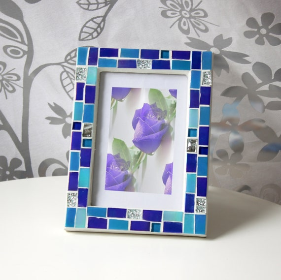4x6 frame mosaic photo frame blue frame photo frame 4x6 picture frame 4x6 blue photo frame blue frames mosaic art gift for her from - Mosaic Picture Frames