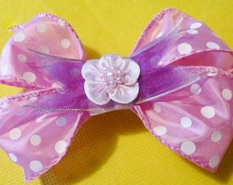 Pink Polka Dot and Purple Bow