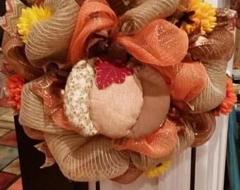 Fall Autumn Pumpkin Mesh Wreath