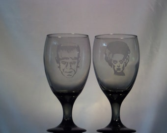 Etched Frankenstein and Bride smoked wine glasses