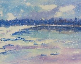 """Winter landscape watercolor """"January"""". Print. Limited Edition."""