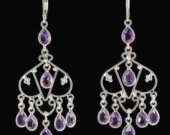 Amethyst earrings,Dangle earrings,Handmade earrings,Sterling Silver earrings,Chandelier earrings,Leverback earrings