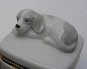 Vintage Trinket Box - Porcelain Jewelry Box - Dog Jewellery box