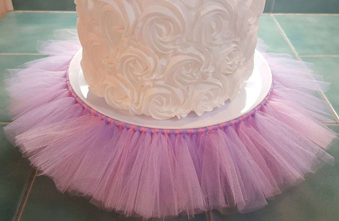 CAKE STAND TUTU Pink Lavender Cupcake Tulle Skirt Decorations Baby Shower  Birthday Party Princess Centerpiece Wedding Bridal Quinceanera