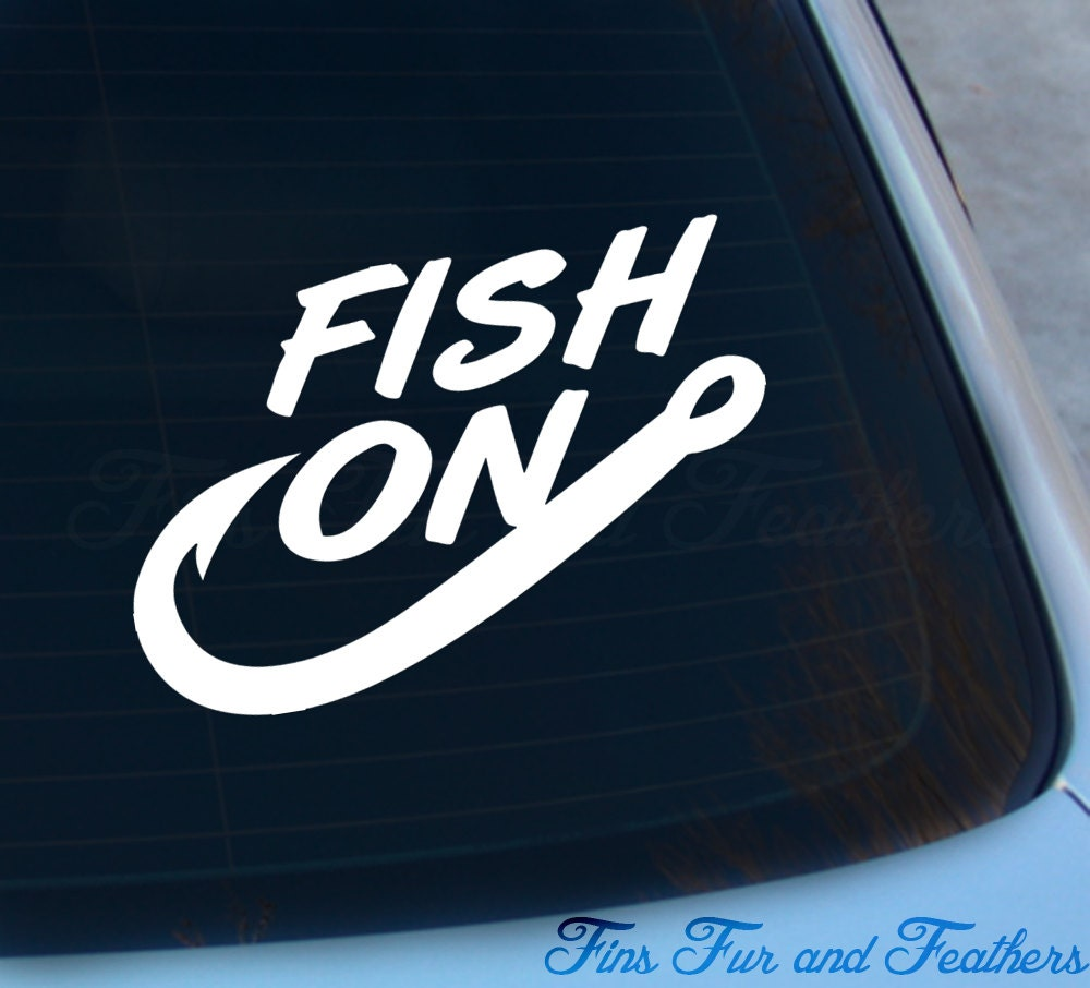 Fish on decal fishing sticker saltwater freshwater for Saltwater fishing decals