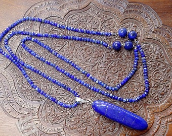 Natural Lapis Lazuli Long Necklace, Genuine Royal Blue Untreated Lapis Pendant & Faceted Lapis Beads In Sterling Silver Long Strand Necklace