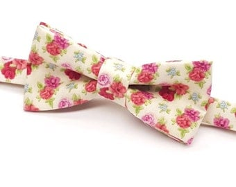 Floral Bow tie, Men's Floral Bow tie, Floral Bowtie, Red Floral Bow tie, Bowtie with Flowers, Kids Floral Bow tie, Baby Floral Bow tie