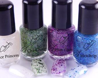 Nail Polish Glitter Set -Glitter Glam- Nail Lacquer Gitter Set 5 Free Indie Nail Polish Franken Polish
