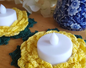 2 Crocheted blooming yellow rose candle holders - Tealight candles included!
