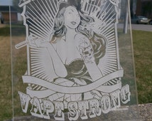 "Personalized Acrylic Display Frame Vaporizer Vapor Station ""Live Long Vape Strong"" Engraved Pinup Girl Quote 7x12 Gift"