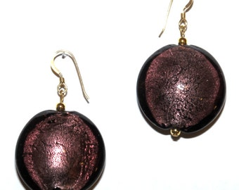 Large, purple, venetian glass earrings