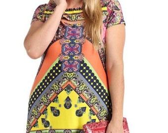 Plus size colorful tunic