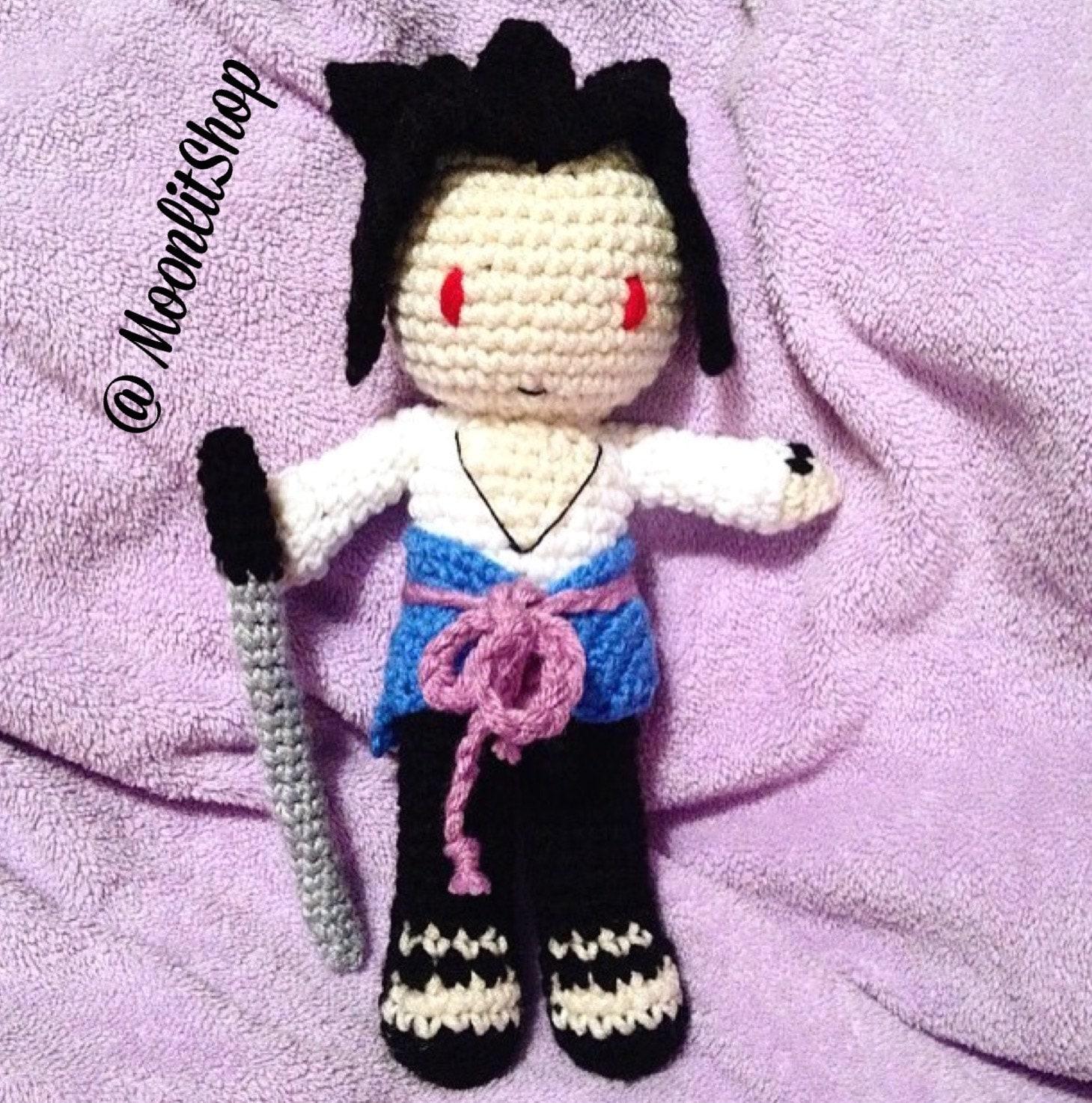 Amigurumi Naruto Pattern : Naruto Shippuden Inspired Crochet Sasuke Uchiha Amigurumi Doll