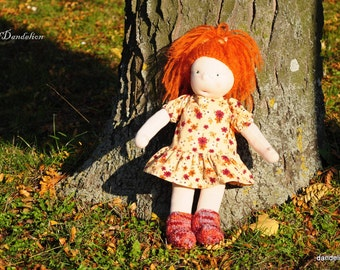 Waldorf doll 18 inch with red hair and emerald green eyes, hand made she is Katie
