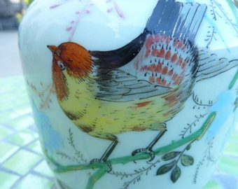 early 1900s hand painted Opaline vase pattern and flowers of France