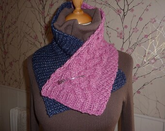 scarf scarf snood hand knitted cable wool and cotton
