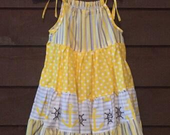 Yellow and Grey Anchor Girls Pillowcase Dress