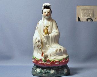 "Vintage guanyin Chinese buddha figurine statue porcelain 10"" tall DSC_00848"