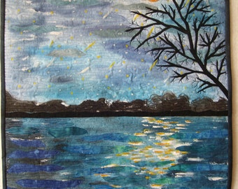 Art Quilt Falling stars, landscape.