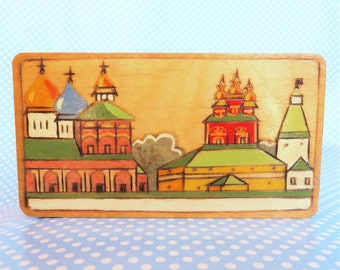 Vintage wooden trinket gift box hand painted and pyrographed  from Russian Soviet era