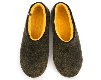 "Mens Comfy Felted Wool Slippers /""Dual Black"" yellow by Wooppers Woolen Slippers /Felt House shoes Warm, Comfortable and Useful"