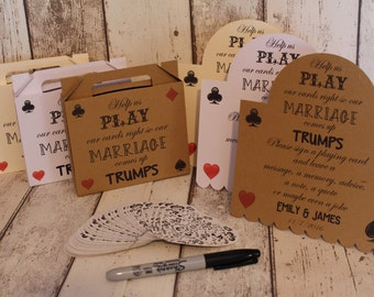 Personalised wedding alternative guest book Heart playing cards like my jenga guest book