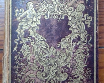 The Token of Friendship: An Offering for all Seasons 1852 beautiful old leather binding w/ gilt cherubs