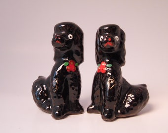 Vintage Hand Painted Japan Poodle Salt and Pepper Shakers, Retro Black Poodles, Retro Vintage Kitchen