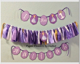 Personalized Sofia the first garland and banner.