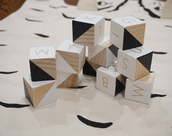 Alphabet blocks set with organic paint in modern design-untreated wood- geometeic design-childrens blocks-baby blocks