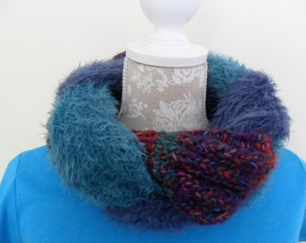 Circular scarf/neckwarmer/plaited circular scarf/complimentary colour scheme/3 scarves plaited and joined/cosy snug fit/fluffy yarns/stylish