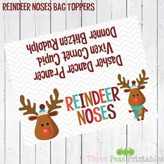 reindeer noses printable bag toppers - Reindeer Noses Bag Toppers ...