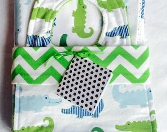 baby gift set (three pieces--blanket, bib and burp cloth)