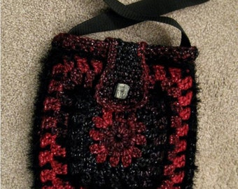 Martha..Beautifully crocheted & fringed shoulder bag, fully lined with 1 internal pocket and button closure. .