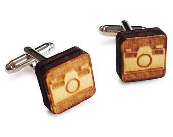 Wooden Cufflinks: Camera FREE WORLDWIDE SHIPPING