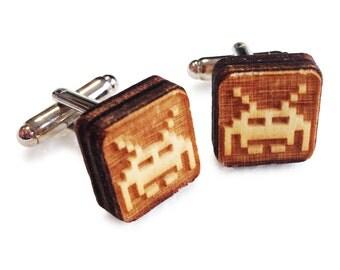 Wooden Cufflinks: Space Invader FREE WORLDWIDE SHIPPING