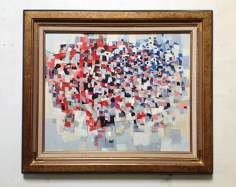 1980's Abstract Cubist Painting