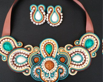 soutache maxi necklace set with tendrils in brown , champagne and orange combination