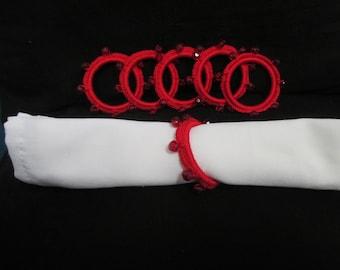 Red Beady Crocheted Napkin Rings