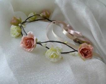 Wedding Fower Crown Bridal Headpiece - Wedding Accessories Ivory Flower - Crown Rustic Head Wreath Wedding Headband Bridal Hair